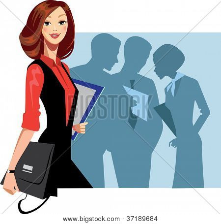 manager woman and staff