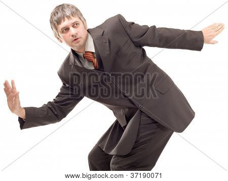 Businessman Surfing and Balancing Isolated on White Background