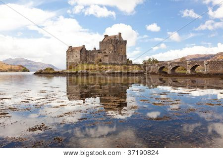 Reflection of Eilean Donan Castle, Highland Scotland.