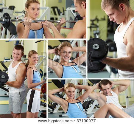 Collage of sporty people in gym