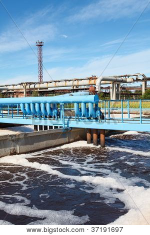 Oxigen Aeration Of Wastewater In Sewage Treatment Plant