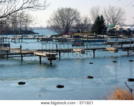 Winter Dock Pier Sailboat
