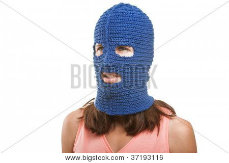 Russian protest movement concept - woman wearing balaclava or mask on head white isolated