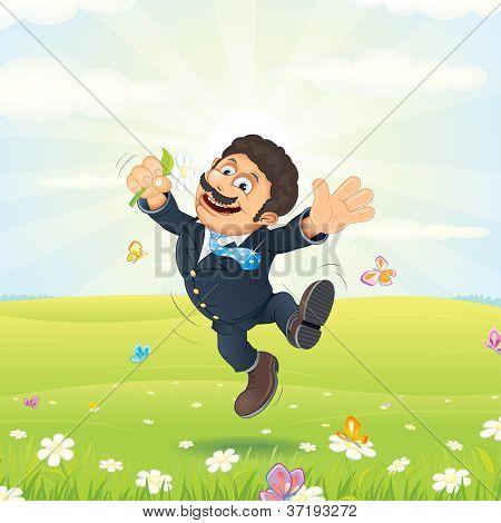 Empresário sonhando feliz. Funcionário com flor, saltos em Prado Verde