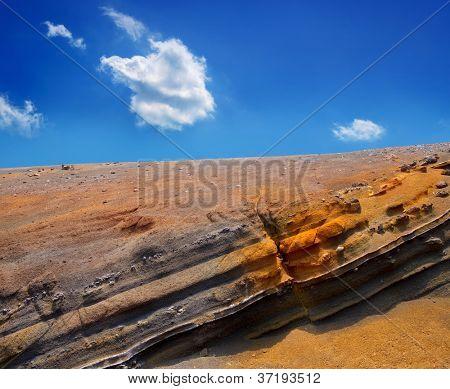 Teide National Park volcanic rocks under blue sky at Canary Islands