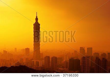 Taipei in sunset