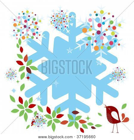 bird and snowflakes foliage frame