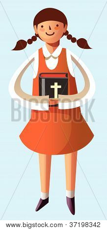 Portrait of girl holding bible in hand