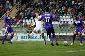 KAPOSVAR, HUNGARY - SEPTEMBER 14: Benjamin Balazs (in white) in action at a Hungarian National Champ
