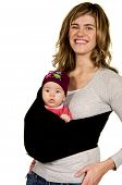 Happy Mama With Baby In A Sling poster