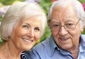 stock photo of geriatric  - Happy senior couple portrait - JPG