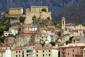 Corte mountain village in Corsica island, France