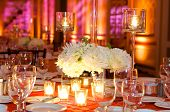 picture of wedding table decor  - Table setting at a luxury wedding reception