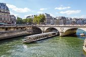 Tourist Cruise Luxury Restaurant Boat In River Seine Paris France