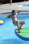 stock photo of tarzan  - Child is in tarzan pool Water Park Rhodes - JPG