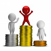 image of copper coins  - 3d small people standing on a pile of coins - JPG