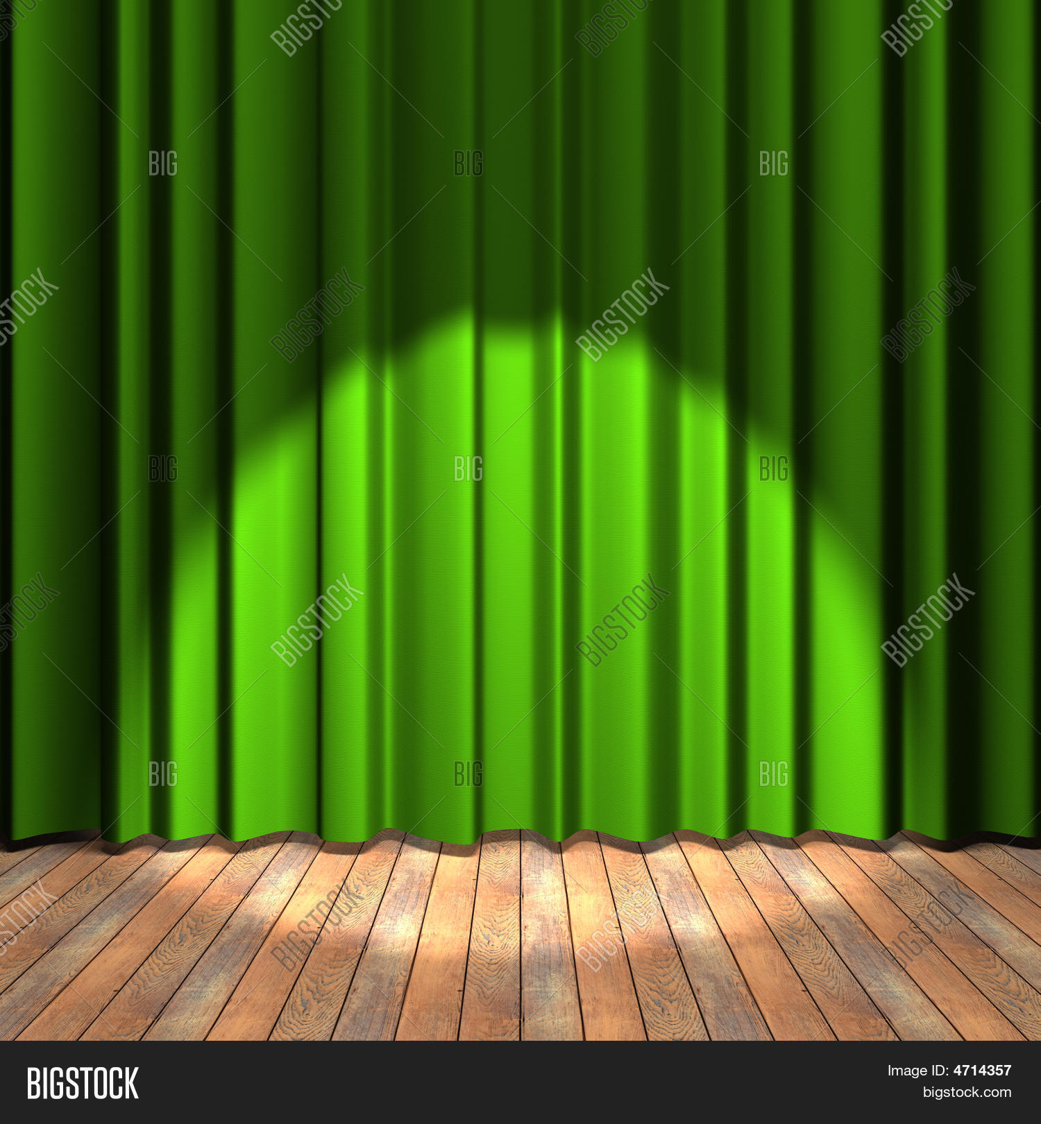 Green stage curtains - Green Curtain Stage With A Spot Light