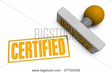 Certified Stamp or Chop on Paper Concept in 3d