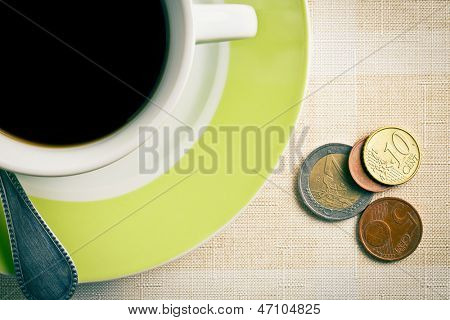 the euro currency and coffee cup