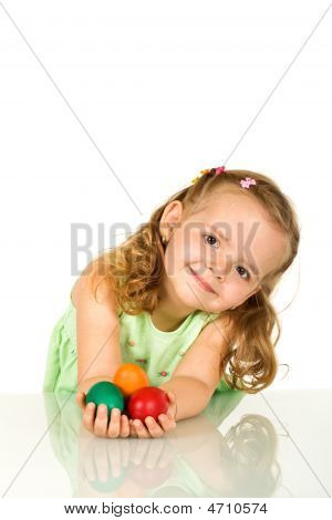 Adorable Little Girl With Easter Eggs - Isolated