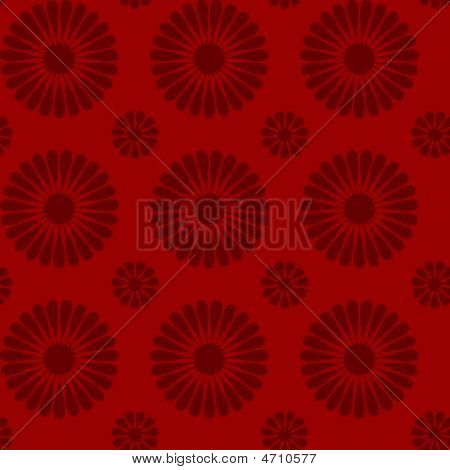 Red Repeating Flower Design Wallpaper