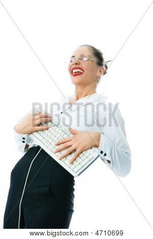 Businesswoman With A Keyboard Having Fun