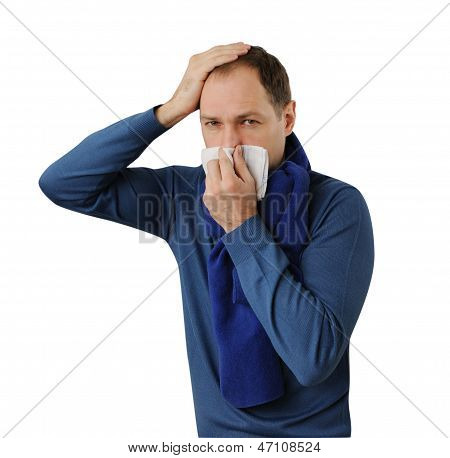 Man Blowing His Nose And Holding His Head Isolated On White Background
