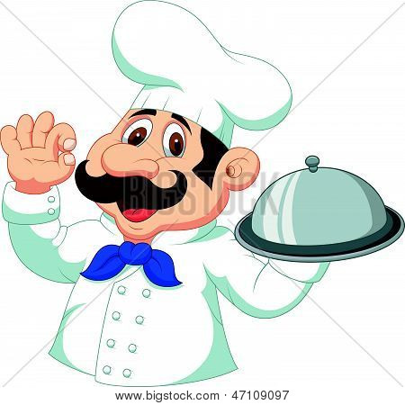 Chef cartoon with ok sign
