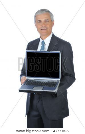Middle Aged Businessman Holding Open Laptop