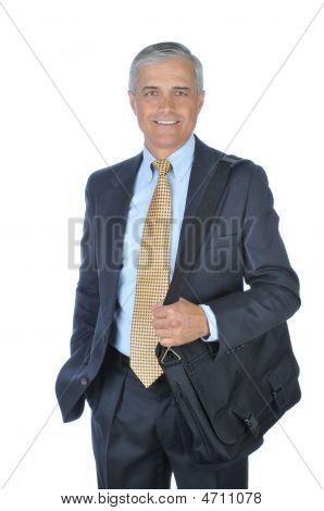 Middle Aged Businessman With Shoulder Bag
