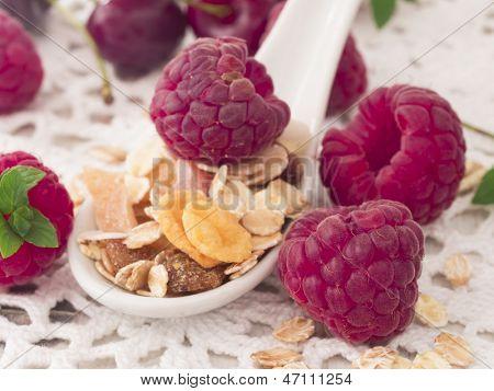 musli with fresh raspberries