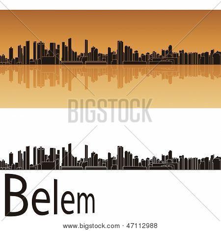 Belem Skyline In Orange Background