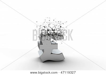 3D Pound Sterling Currency Symbol Exploding