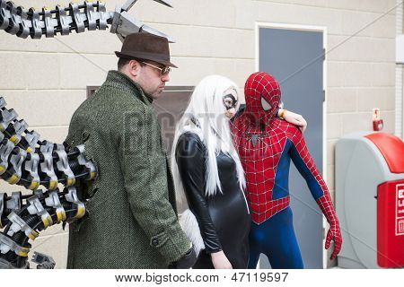 LONDON, UK - May 26: Spiderman and Doctor Octopus cosplayers posing at the MCMExpo at the Excel Centre. May 26, 2013 in London.