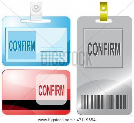 Confirm. Id cards. Raster illustration.