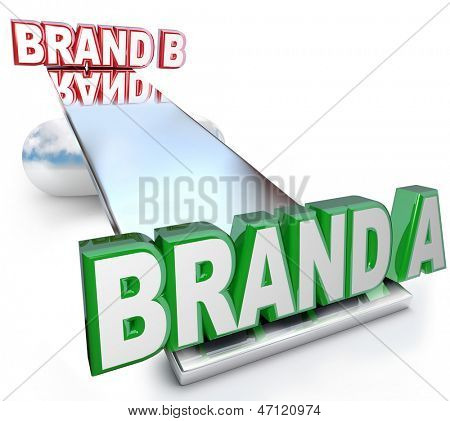 The words Brand A and Brand B on a see-saw scale or balance, weighing the benefits of two brands to determine which one has the best credibility, identity, trustworthiness, quality and loyalty