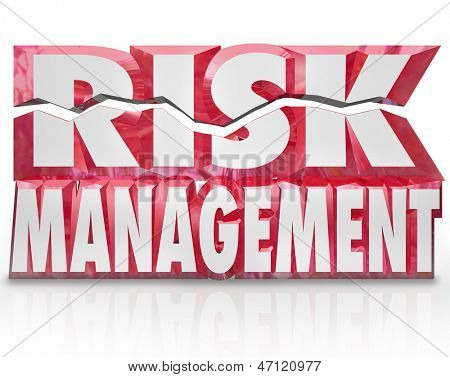 The words Risk Management in red 3d letters to illustrate the need to minimize liability and increase security and safety for your home, family, organization or workplace