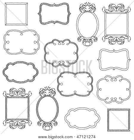 Vector Set of Hand Drawn Doodle Frames
