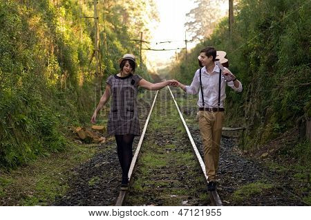 Retro Young Love Couple Vintage Train Tracks