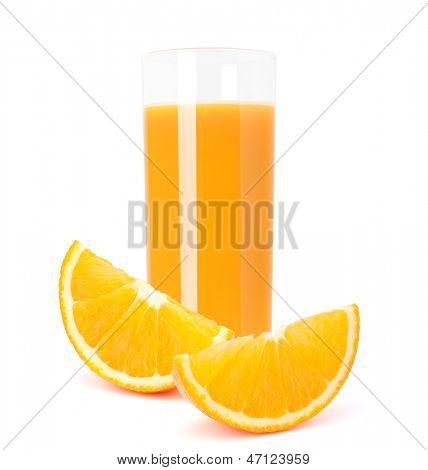 Juice glass and orange fruit isolated on white background cutout