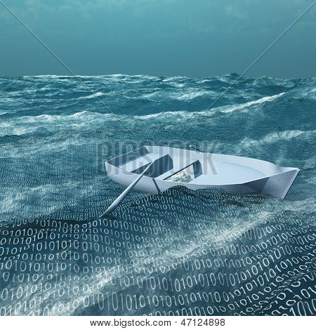 Empty rowboat afloat on binary ocean