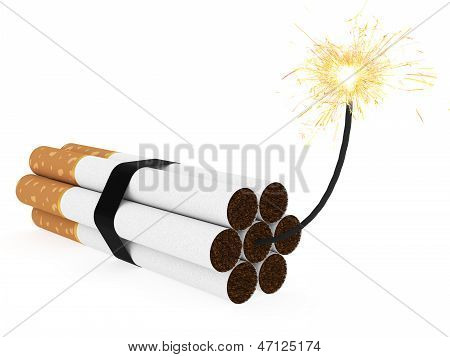 Dynamite Composed Of Cigarettes With Burning Wick On White