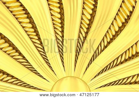 Gold Sunburst Background With Rays And Beams.