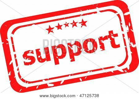 Support On Red Rubber Stamp Over A White Background