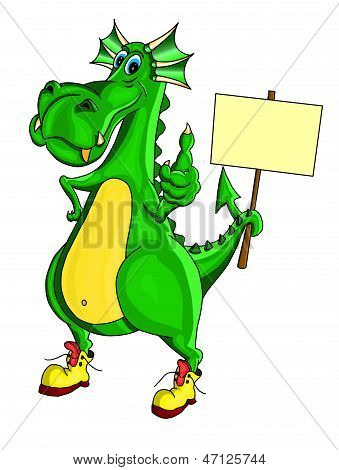 Green dragon holding a placard and showing sign of all good