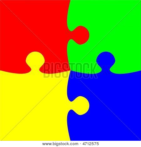 Colorful Four Pieces Puzzle