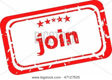 Join Red Rubber Stamp Over A White Background