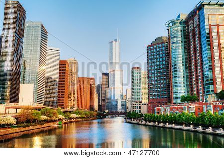 Chicago Downtown With Trump International Hotel And Tower In Chicago, Il In The Morning