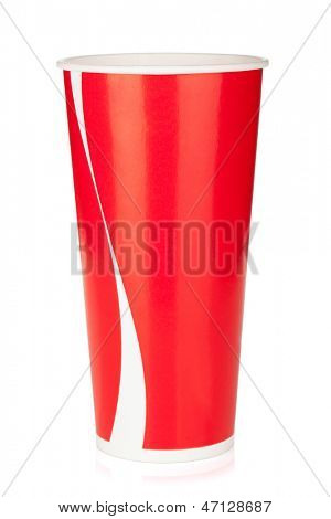 Red disposable cup. Isolated on white background