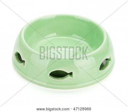 Empty cat food bowl with fish decor. Isolated on white background